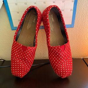 Toms Red Classics knit Polka Dots Size 9